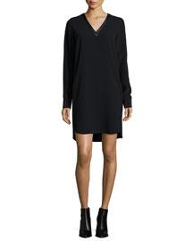 Long-Sleeve Mixed Media V-Neck Dress