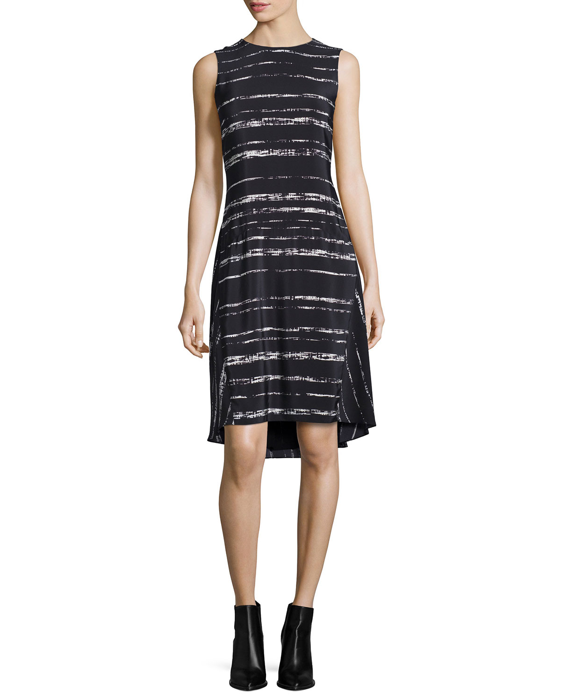 Vince Shadow-Stripe Silk Drop-Waist Dress, Size: 6, Black/Off White