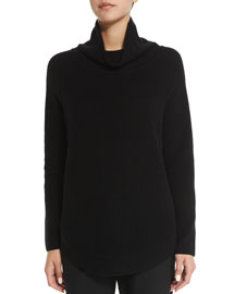 Side-Zip Ribbed Turtleneck Sweater