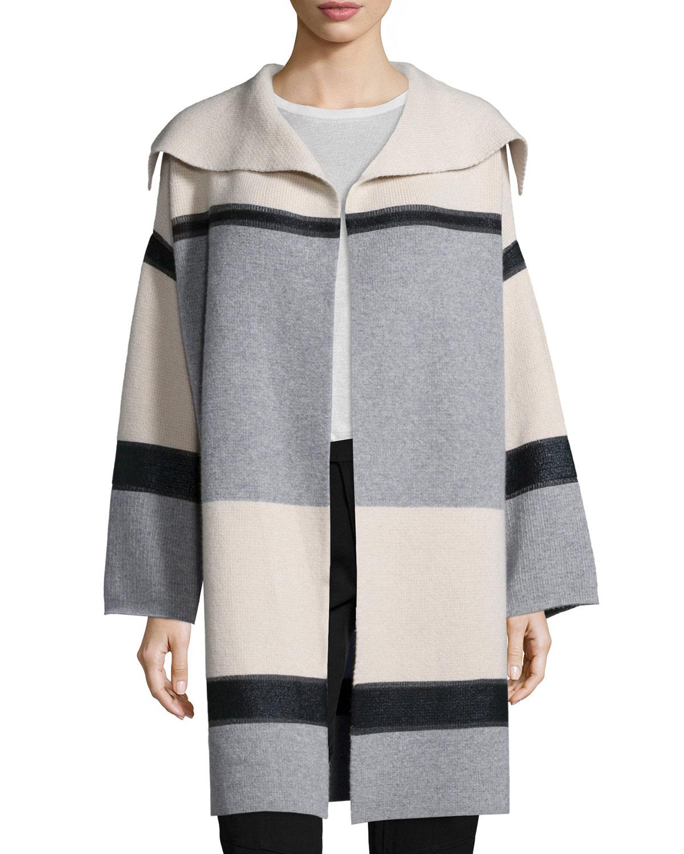 Vince Colorblock Wool/Cashmere Car Coat, Size: M, Ivory/Grey