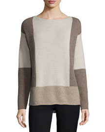 Intarsia Colorblock Wool/Cashmere Sweater
