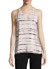 Shadow-Stripe Silk Racerback Cami