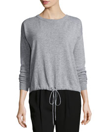Luxe Drawstring-Waist Wool/Cashmere Sweater