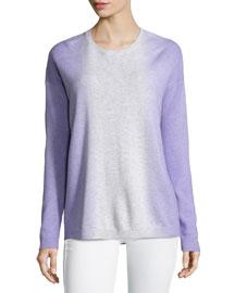 Dip-Dye Wool/Cashmere Crewneck Sweater