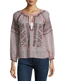 Beldisa Paisley-Print Top, Apple