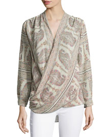 Ruth Long-Sleeve Wrap Top, Buff