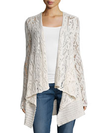 Locuan Drape-Front Cashmere Sweater, Ivory