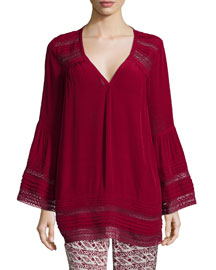 Nubia Long-Sleeve Top, Dark Garnet