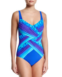 Pixel-Print Ombre One-Piece Swimsuit, Women's