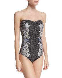 Vintage Glam Bandeau One-Piece Swimsuit
