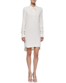 Long-Sleeve Tunic Dress, Ecru