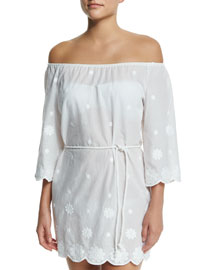 Bree Embroidered Off-the-Shoulder Coverup Dress