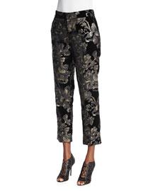 Baldwin Floral-Velvet Ankle Pants, Black