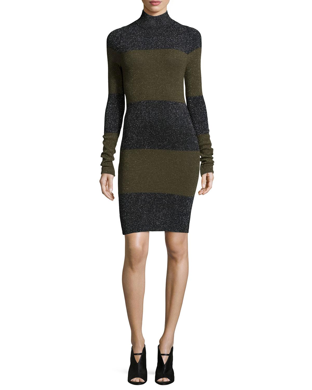 A.L.C. Sharon Long-Sleeve Striped Metallic Dress, Black/Army Multi, Size: M