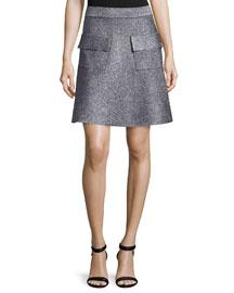 Aaron Metallic A-Line Skirt, Silver