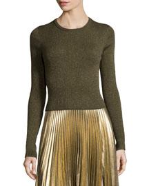 Rene Metallic Ribbed Sweater, Army/Gold