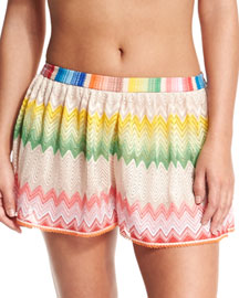 Wavy-Print Pull-On Coverup Shorts, Multi