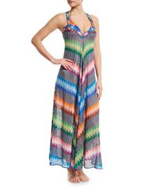 Zigzag-Print Maxi Coverup Dress, Multi Colors