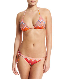 Reversible Triangle Bikini Two-Piece Set, Orange Multi