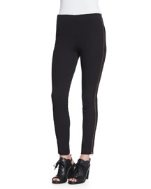 Chatel Slim-Leg Piped Pants, Black