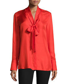 Florence Silk Tie-Neck Blouse, Fiery Red