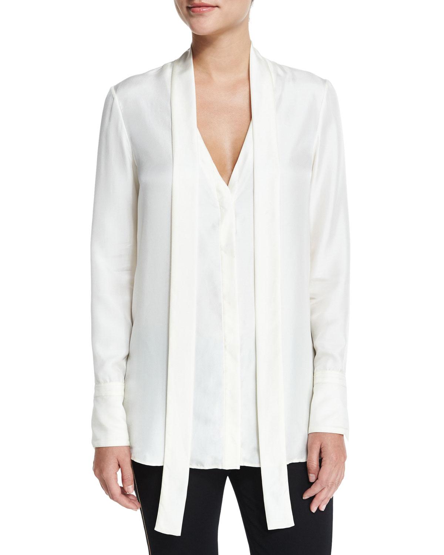 Rag & Bone Florence Silk Tie-Neck Shirt, Antique White, Size: 12, Antq White
