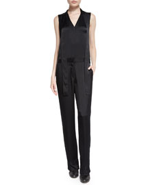 Lois Sleeveless Satin Jumpsuit, Black