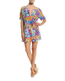 Paisley-Print Split-Neck Tunic Coverup Dress