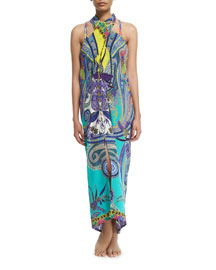 Butterfly Paisley-Print Halter Coverup Dress