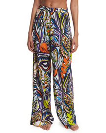Light Grasshopper Printed Wide-Leg Coverup Pants