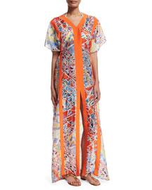 Light Mosaico Short-Sleeve Caftan Dress, Celeste/Arancio