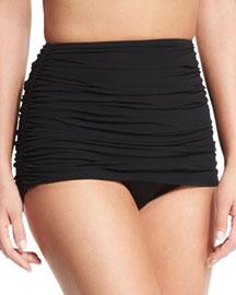 Shirred Halter Bikini Top, Black