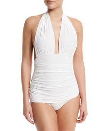 Bill Ruched Halter Maillot Swimsuit