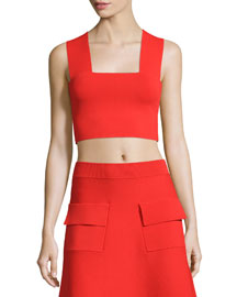 Ali Sleeveless Cropped Ponte Top, Red
