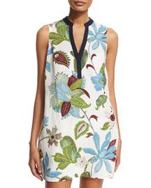 Floral-Print Linen Beach Dress