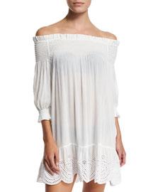 Smocked Off-the-Shoulder Coverup Dress