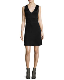 Astrid Open-Back A-Line Dress, Black