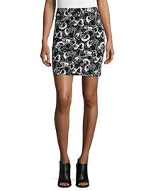 Liberty Floral-Print Skirt, Ivory