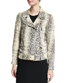 Corlyn Snake-Embossed Leather Jacket, Natural