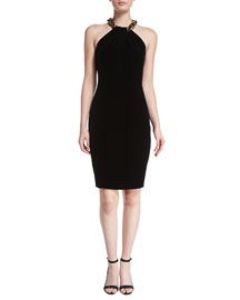 Beaded Velvet Halter Cocktail Dress, Black