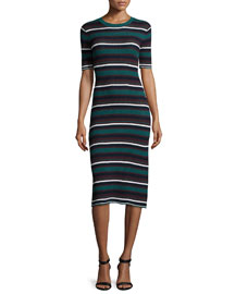 Delissa Textured Stripe Knit Sheath Dress