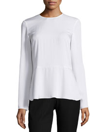 Malydie Long-Sleeve Silk Top
