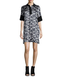 Dana Printed Silk Tunic, Black/White