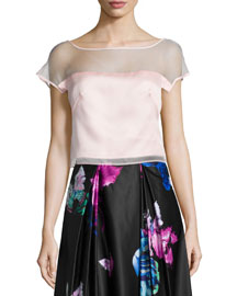 Short-Sleeve Silk Organza Top