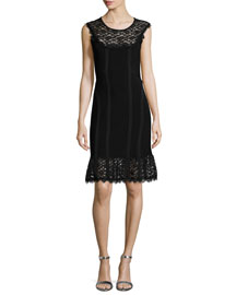 Sleeveless Sheath Dress with Lace Detail