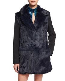 Long-Sleeve Fur-Front Combo Coat
