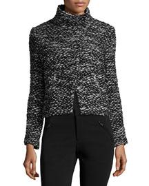 Cropped Tweed Jacket, Black/White