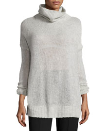 Philipa Knit Cashmere Turtleneck Sweater, Light Gray