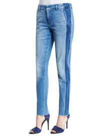 Denim Side-Strapping Pants