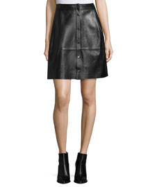 Snap-Front Leather Skirt, Black